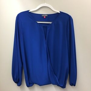 Vince Camuto Blue Wrap Balloon Hem Blouse PM